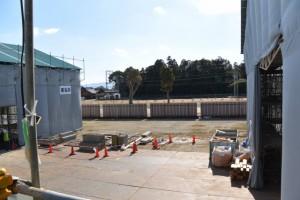 屋根近くまで登れる見学ルートからの眺め(斎宮復元建築工事見学会)