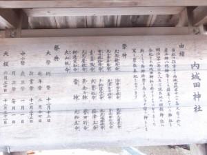 内城田神社(度会町棚橋)の由緒ほか説明板