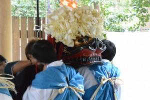 御頭神事-御頭衣装着付け(高向大社)