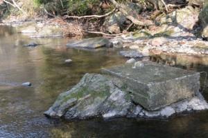 五十鈴川で見つけた流された橋跡(高麗広公民館付近)