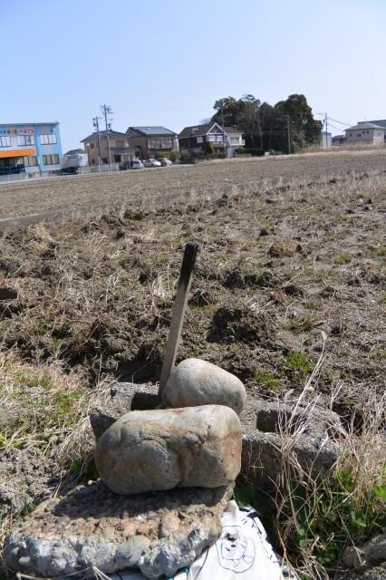 河原神社(豊受大神宮 摂社)の社叢を望める田んぼで見つけた護摩木(?)