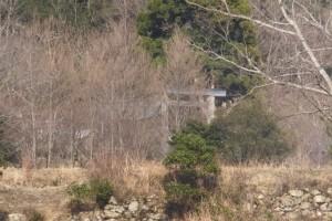 伊勢道路(県道32号)から見つけた鳥居、神社?