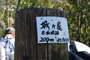 「城ヶ尾、赤坂城跡」の山頂標