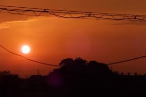 自宅近く河原神社社叢付近からの日の出
