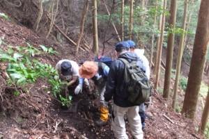 宮川支流、濁川ウォークの下見で発見した行方不明の地蔵(地蔵峠付近)