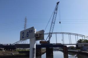 勢田川右岸 2.6kmポスト付近から望む勢田川の下流方向