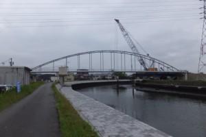 仮設橋の撤去作業(勢田川水管橋架設工事)