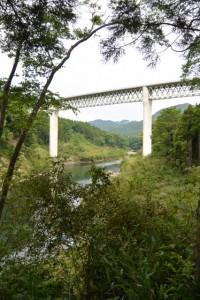 三瀬の渡しへ下る途中で見上げた紀勢自動車道の紀勢宮川橋(大台町下三瀬)