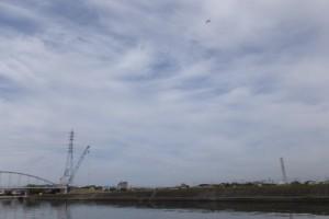勢田川水管橋架設工事現場付近