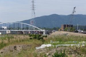 左岸に広がる田んぼから遠望する仮設橋の撤去作業(勢田川水管橋架設工事)