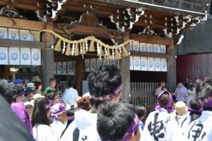 桑名宗社(春日神社)の楼門にて儀式(桑名七里の渡し場 伊勢国一の鳥居 お木曳)