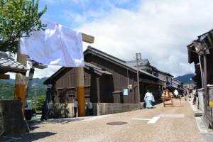 東海道関宿 東追分一の鳥居竣工式、くぐり初め式の準備