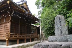 城南神社に立つ「天照大御神御神幸旧蹟」の石碑(桑名市安永)