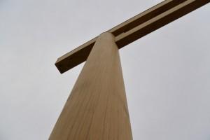建て替えられた桑名七里の渡し場跡一の鳥居のくぐり初め(桑名市船馬町)