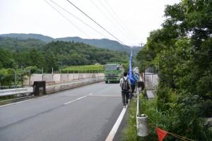 橋梁修繕中の横輪川に架かる沼木橋(サニーロード)