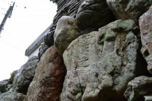 「石工安造」の銘が刻された石(桂林寺の石垣)