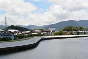 向山(?)と橘神社の社叢、勢田川