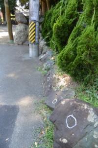 マーキングされた上社のお堀付近にある石(2015年8月1日時点)