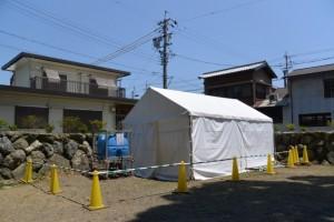 志等美神社・大河内神社(共に豊受大神宮摂社)の御造替(修繕?)に際し、上社の境内の隅に立てれているテント