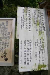 夫婦岩の大注連縄の説明板(二見興玉神社)
