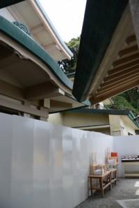 拝殿と解体中の社務所(二見興玉神社)