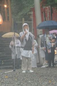 お木曳を終えての挨拶(賀多神社)