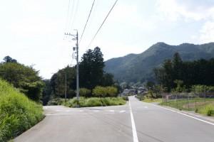 金輪橋(藤川)方向と林道芦谷線との分岐