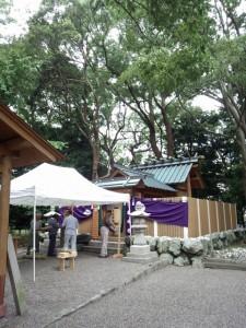 祭典の準備が進められていた箕曲神社(伊勢市小木町)