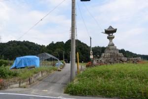 (2)-9 常夜燈 からの明神社の社叢遠望
