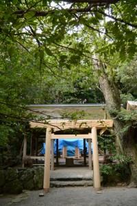 建て替えを終えた拝殿前の鳥居(松下社)