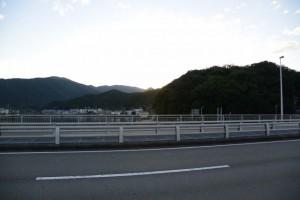 安楽島大橋(加茂川)から望んだ夕日