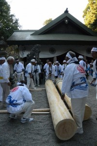 担ぎ上げられた御神木(松阪神社式年遷座・お木曳き)