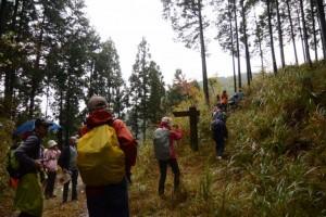 「五輪塔700m・高見山2800m」の道標付近