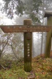 高見山を越えるみち「トイレ100m・大二木茶屋跡1500m」(近畿自然歩道)の道標