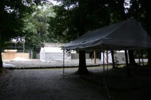 テントが建てられた祓所(神麻続機殿神社)