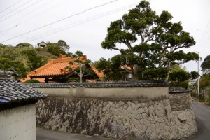 大慈寺の屋根と石垣塀
