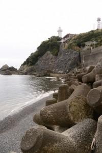 太平洋の荒波に削らえた須場の浜のテトラポット(大王町波切)