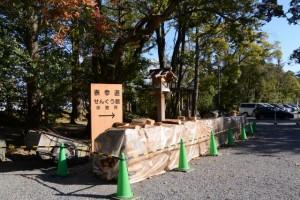 どんど火の追加用に準備された薪(外宮、北御門参道口)