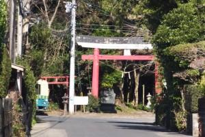 田の神さぁ(唐仁地区集落センター)から遠望した大塚神社