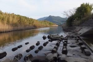 塩入川(弁天橋〜柏原橋)から望む権現山方向