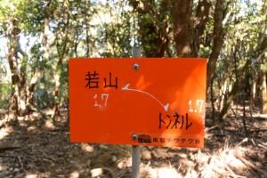 「若山1.7←→トンネル1.7」の道標