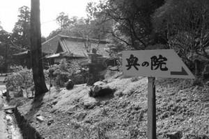 「奥の院→」の案内板(金剛證寺)
