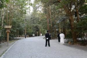 祈年祭 奉幣の儀、参進前の斎館付近(外宮)