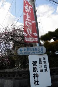 「梅まつり 臥龍梅保存会」の幟(新開臥竜梅公園入口付近)
