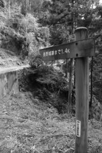 「長野城跡まで1.4k」の道標(林道 高狭ケ野線)
