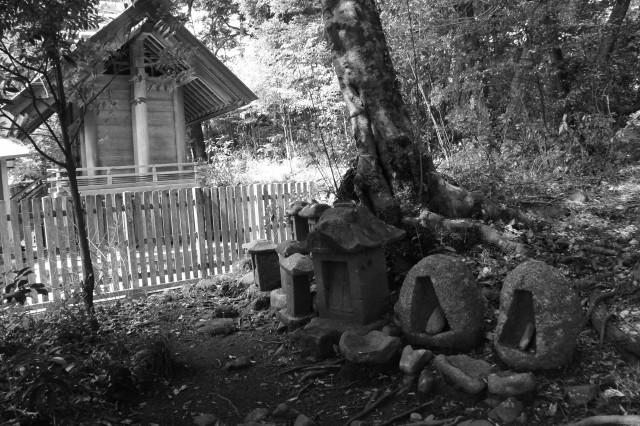 本殿の隣にまつられている石の祠(長野神社)