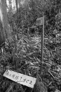西の城跡への道標(津市美里町北長野)