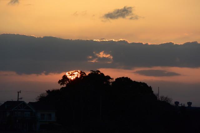 お伊勢さん125社 河原神社(豊受大神宮 摂社)の社叢からの日の出