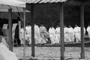 神田下種祭、忌鍬山の儀を終えて神田へ(神宮神田)