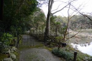 行き止まりとなっている勾玉池の散策路